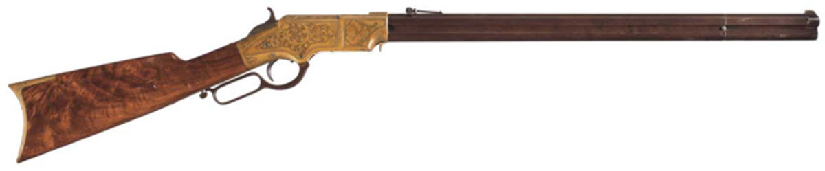Factory Panel Scene Engraved, Gold Plated New Haven Arms Co. Henry Lever Action Rifle with Select Grade Walnut Stock ($184,000)
