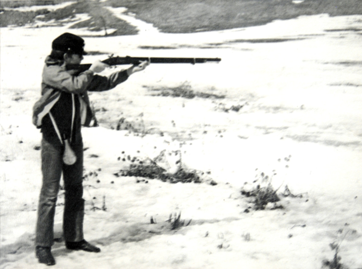 "The first time out with my new ""Zouave"" rifle when I was 12 years old. In my mind's eye, the dark blue shirt and blue jeans resembled a Union uniform. I was upset that it was cold enough that I had to wear a jacket over my ""Yankee clothes."""