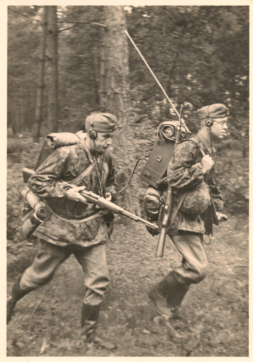 """Not all postcards used painted images. Actual photos were common, such as these soldiers in battle pictured in the series """"Unsere Waffen SS"""" (""""Our Waffen SS"""")."""