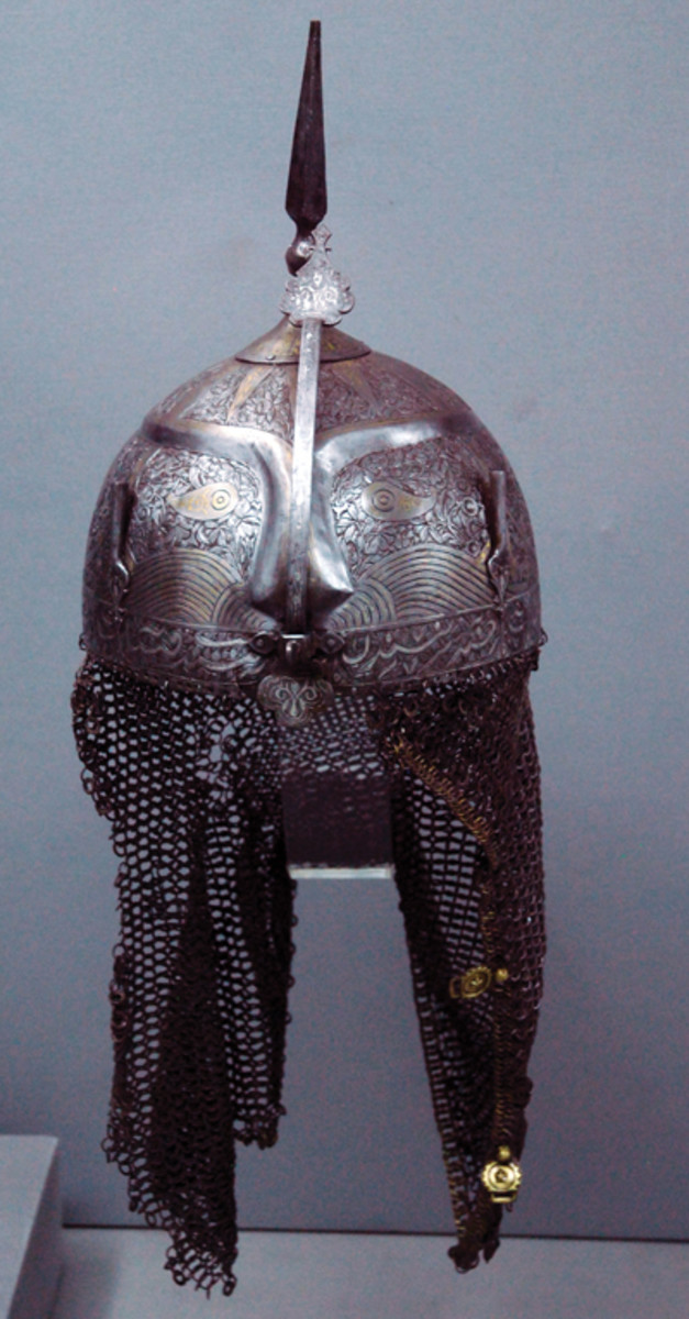 "A 15th Century Ottoman ""Kulah Khud"" style helmet. These ornate helmets originated in Central Asia and were popular from India to the North Africa to Central Europe. This was the true ""original spiked helmet,"" and this example is in the Turkish Military Museum in Istanbul (Photo by the Author)."