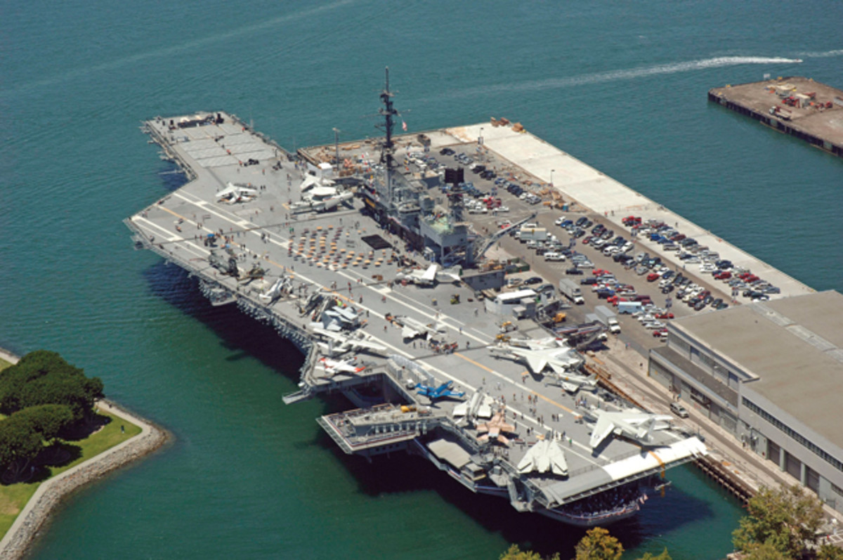 USS Midway's busy flight deck. (Photo courtesy USS Midway Museum)