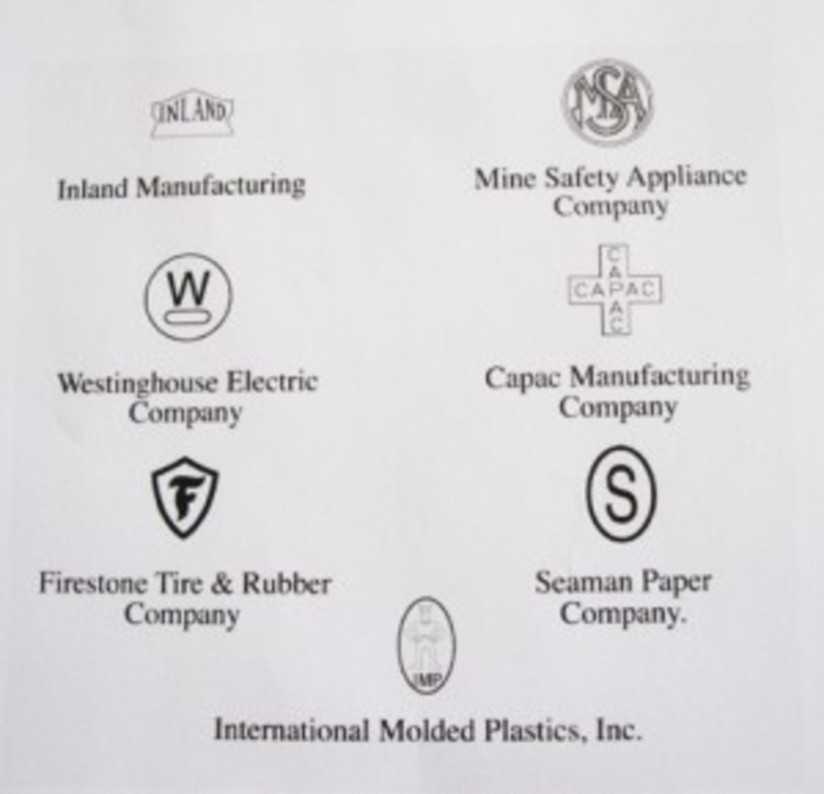 """The hallmarks of the seven manufacturers that produced the high pressure liner. Nearly all liner manufacturers were marked by molding, stamping, or imprinting their company hallmarks into the liners they produced. These marks are located in the center interior of the liner. Hawley Products and General Fiber are exceptions. Hawley did not mark their liners and General Fibre ink stamped """"G"""" inside their liners. Liners from both manufacturers can sometimes be found also stamped with """"LINER FIBRE M-1"""". Hood Rubber marked their liners with """"HR"""" in silver ink and St. Clair """"SC"""" in yellow ink."""