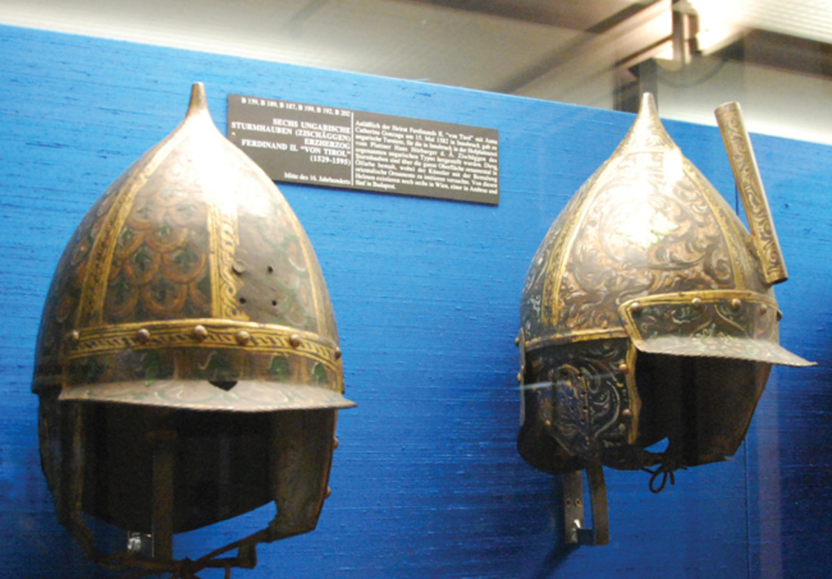 """Pointed helmets – if not exactly """"spiked helmets"""" were widely used in Central Europe in the late Middle Ages. These are two helmets that are of Hungarian origin from the 16th century and are in the Neue Burg Museum in Vienna"""