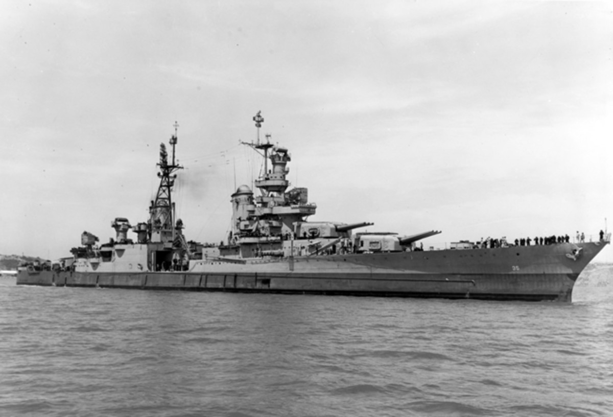 Off the Mare Island Navy Yard, California, 10 July 1945, after her final overhaul and repair of combat damage. Photograph from the Bureau of Ships Collection in the U.S. National Archives.
