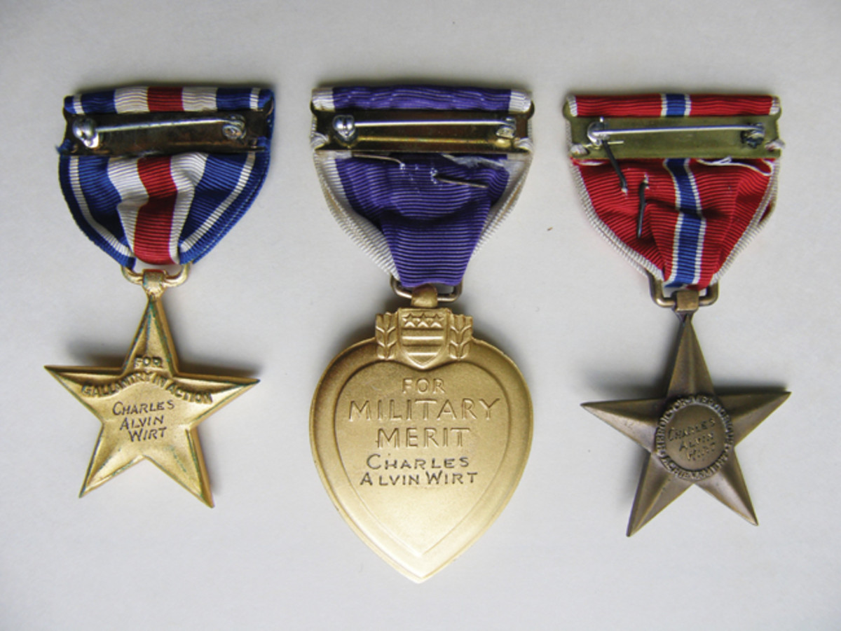 "What might be considered one of Fred's ""favorite finds"" is the medal group once belonging to Charles Alvin Wirt, one of the most daring, aggressive and fearless infantry officers of World War II. The group includes his Distinguished Service Cross, Silver Star, Bronze Star Medal with V for Valor and Purple Heart."