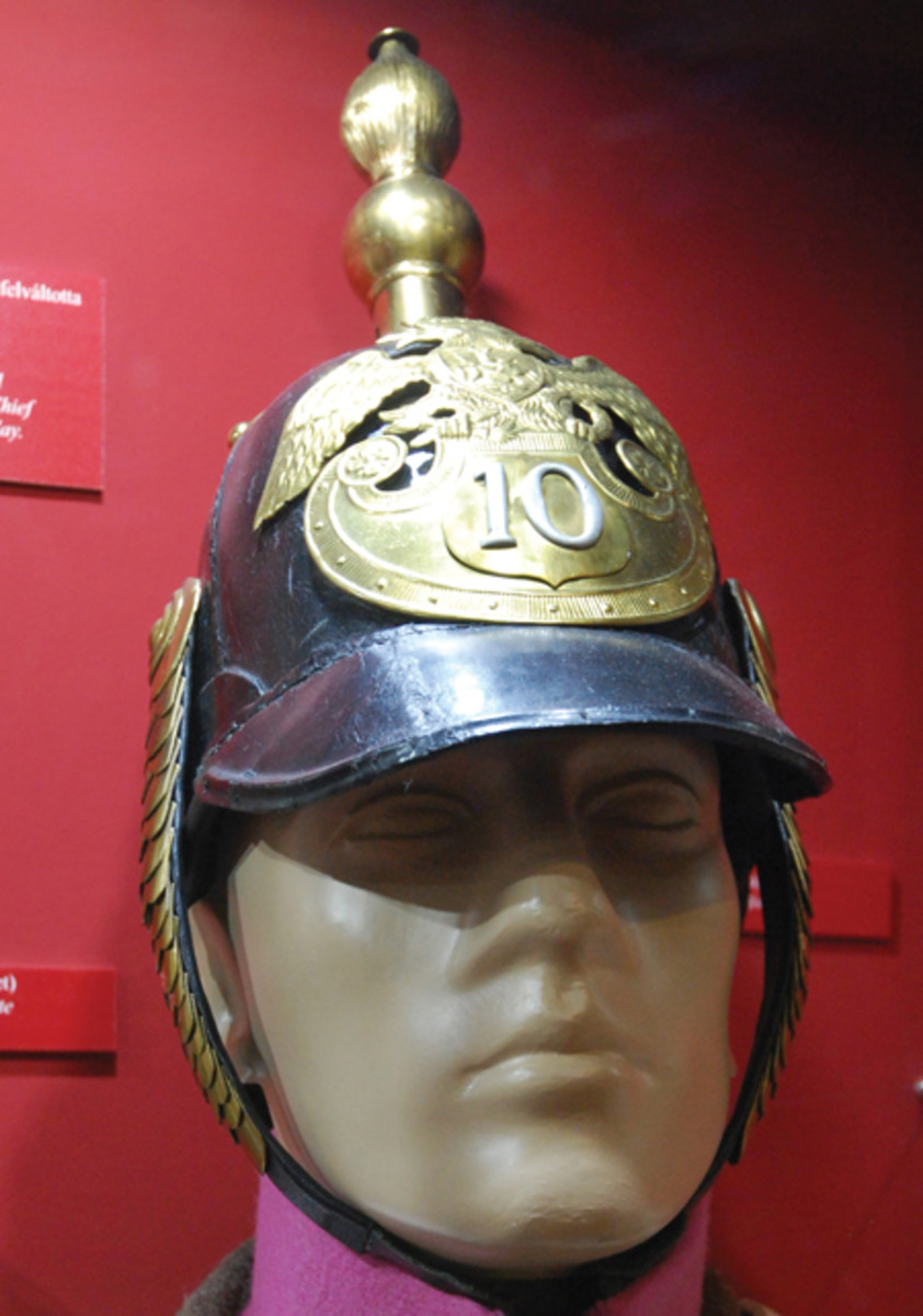 While it well known to WWII collectors that the Soviets invaded Hungary in 1945, the Russian army under Czar Nicholas I came to Austria's aid in 1848 to help put down the Hungarian Revolution – this may have been the first time that the spiked helmet was used in combat. This particular example is now in the collection of the Budapest Military Museum near Buda Castle