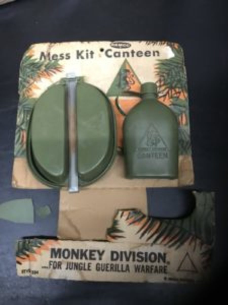Some of my accouterments were the Monkey Division mess kit and canteen. Those are still bouncing around my parent's basement, but that cool display box is long gone!