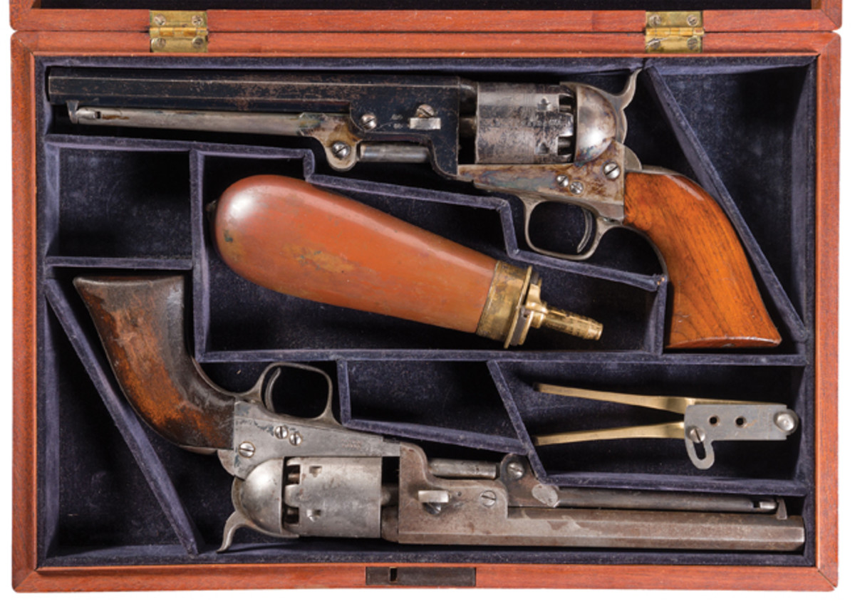 Interesting Cased Pair of Colt London Model 1851 Navy Revolvers