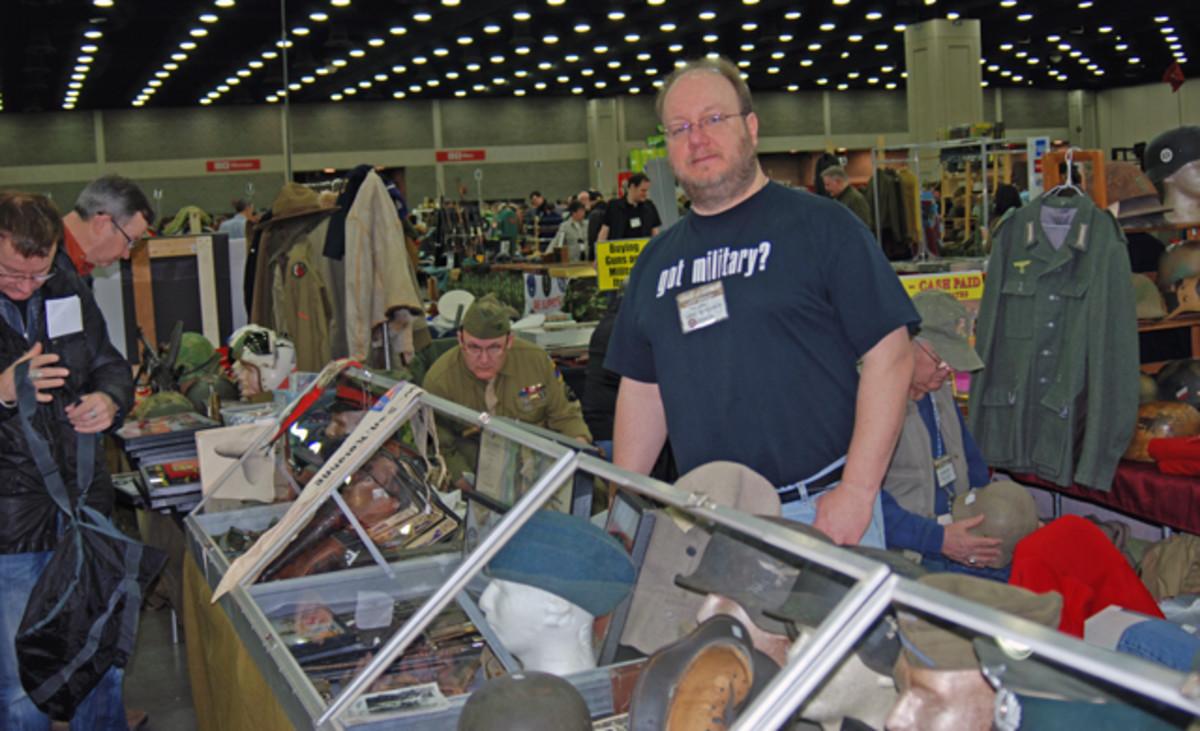 """Mr. Jerry"" Dutschek of Mr. Jerry & Mark's Military Colletibles Shop of West Allis, WI."