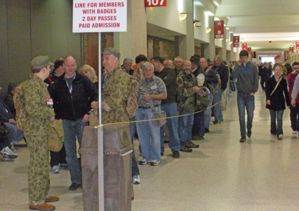 About 450 people were waiting to get into the Show of Shows on Saturday morning.