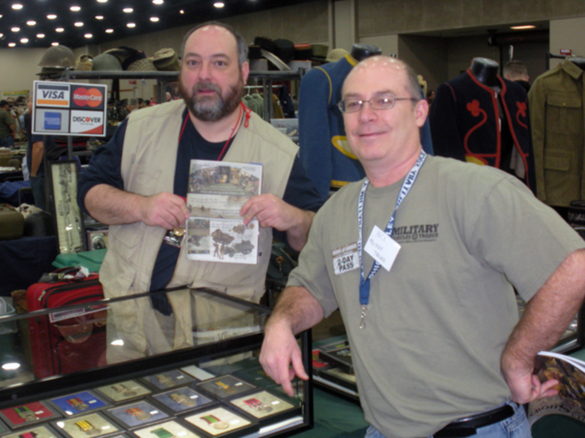Jeff Shrader of Advance Guard Militaria had an impressive display of uniforms, medals, headgear and bargain-priced sales bins. Check out AGM's regular catalog online at www.advanceguardmilitaria.com