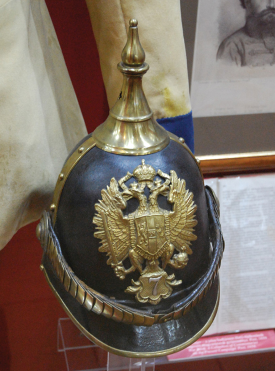 "A mid-19th century Austro-Hungarian Pickelhaube in the collection of the Budapest Military Museum. This helmet has an eastern influence yet still retains the basic ""spiked helmet"" profile (Photo by the Author)."