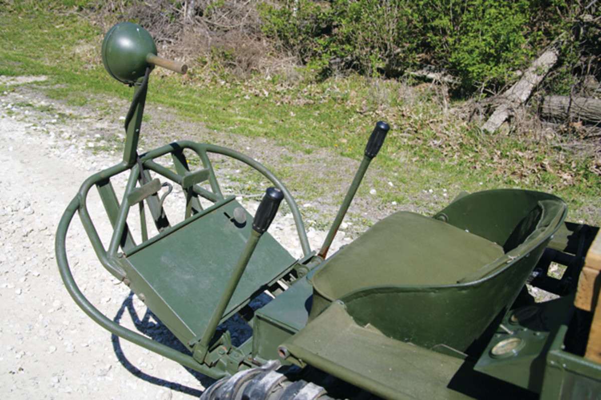 The Mule's cockpit was sparse with no protection for the driver and only a set of vertical levers to move the T-37 forward, back and to navigate turns. The padded pillion was not exactly user friendly, either.