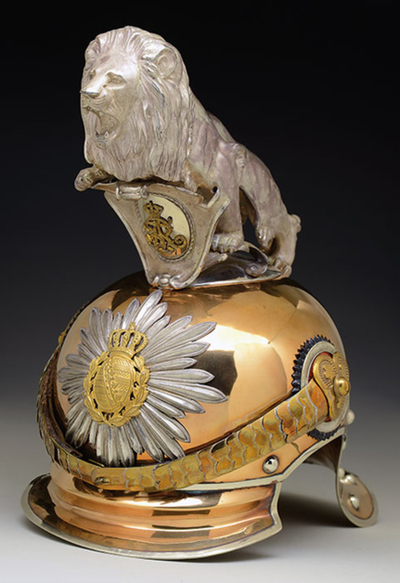 Royal Saxon Guard Rider Officer's Helmet with Silver Parade Lion