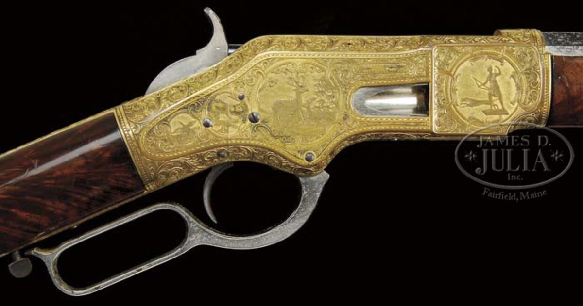 Closeup of Winchester Model 1866 Lever Action Rifle (Wes Adams Estate Collection).