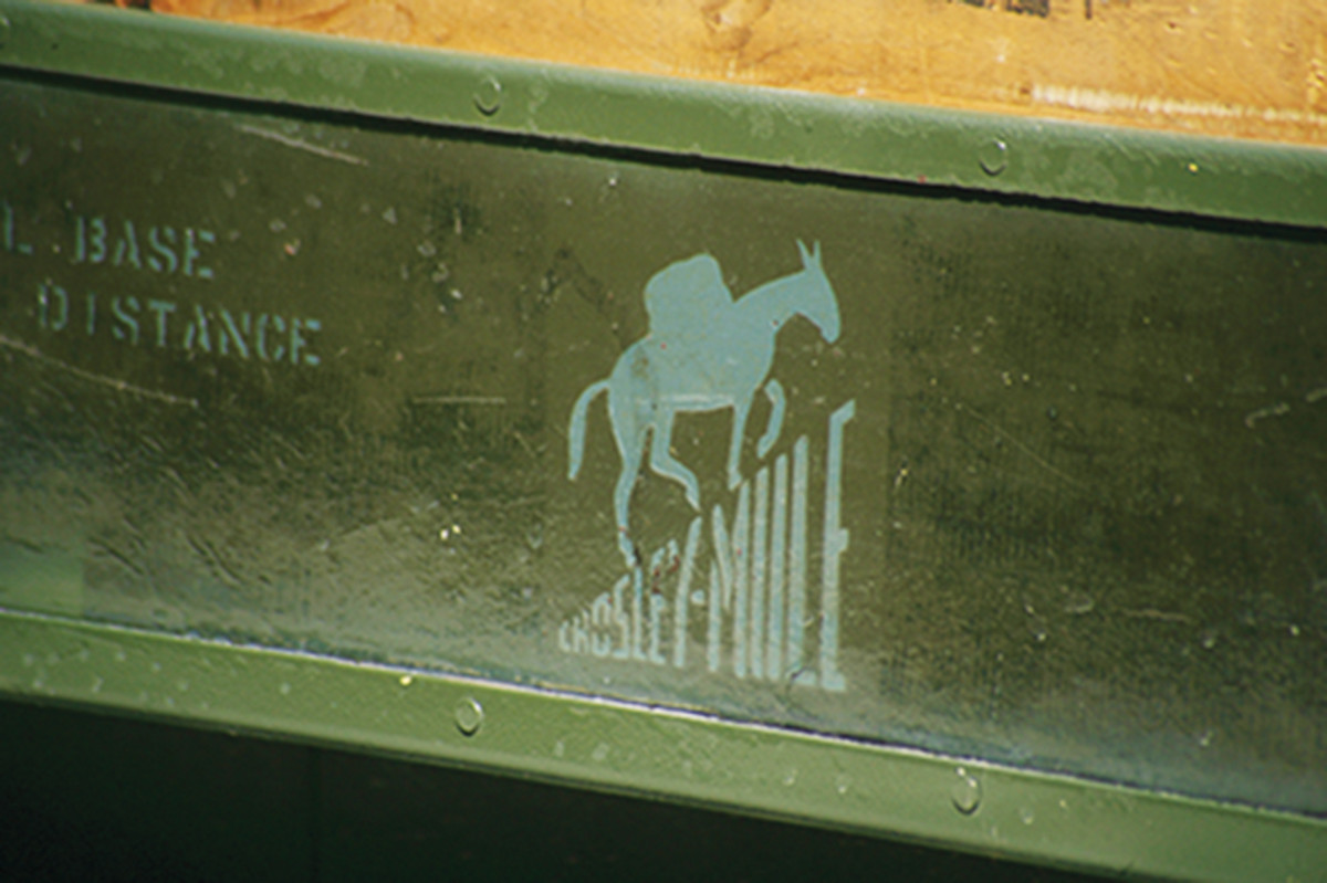 The steel wrapped frame is decorated with the Mule logo along with acres of matte olive drab paint, a perfect combination for a craft destined for military use. Early prototypes were equipped with canvas panels stretched over the steel framin