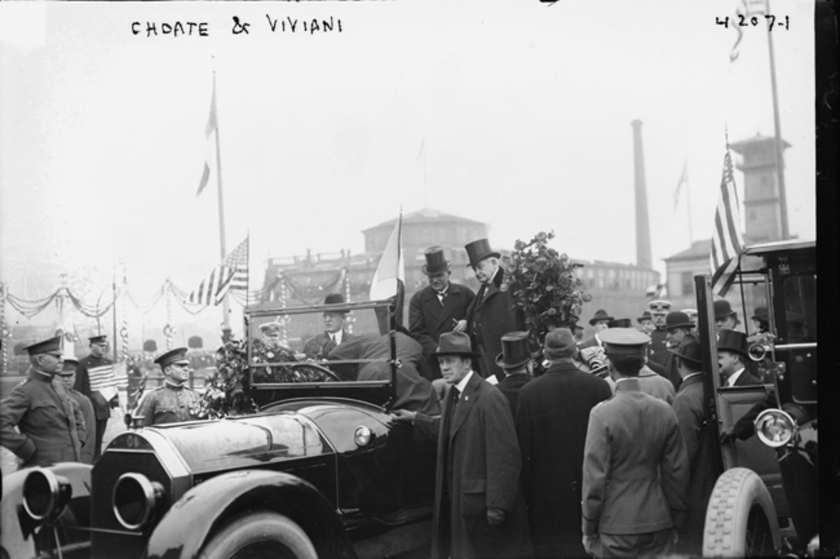 British Secretary of State for Foreign Affairs, Arthur James Balfour (1848-1930) seated at left in the car next to former French prime minister René Viviani (1863-1925) during the ceremonies for the visit by the British commission to New York City on May 11, 1917. Lawyer and diplomat Joseph Hodges Choate (1832-1917) is also present. Library of Congress Flickr Commons project, 2015