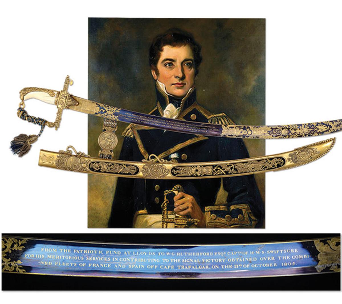 Cased 100 Guinea Lloyd's Patriotic Fund Presentation Sword for Hero Of Battle of Trafalgar