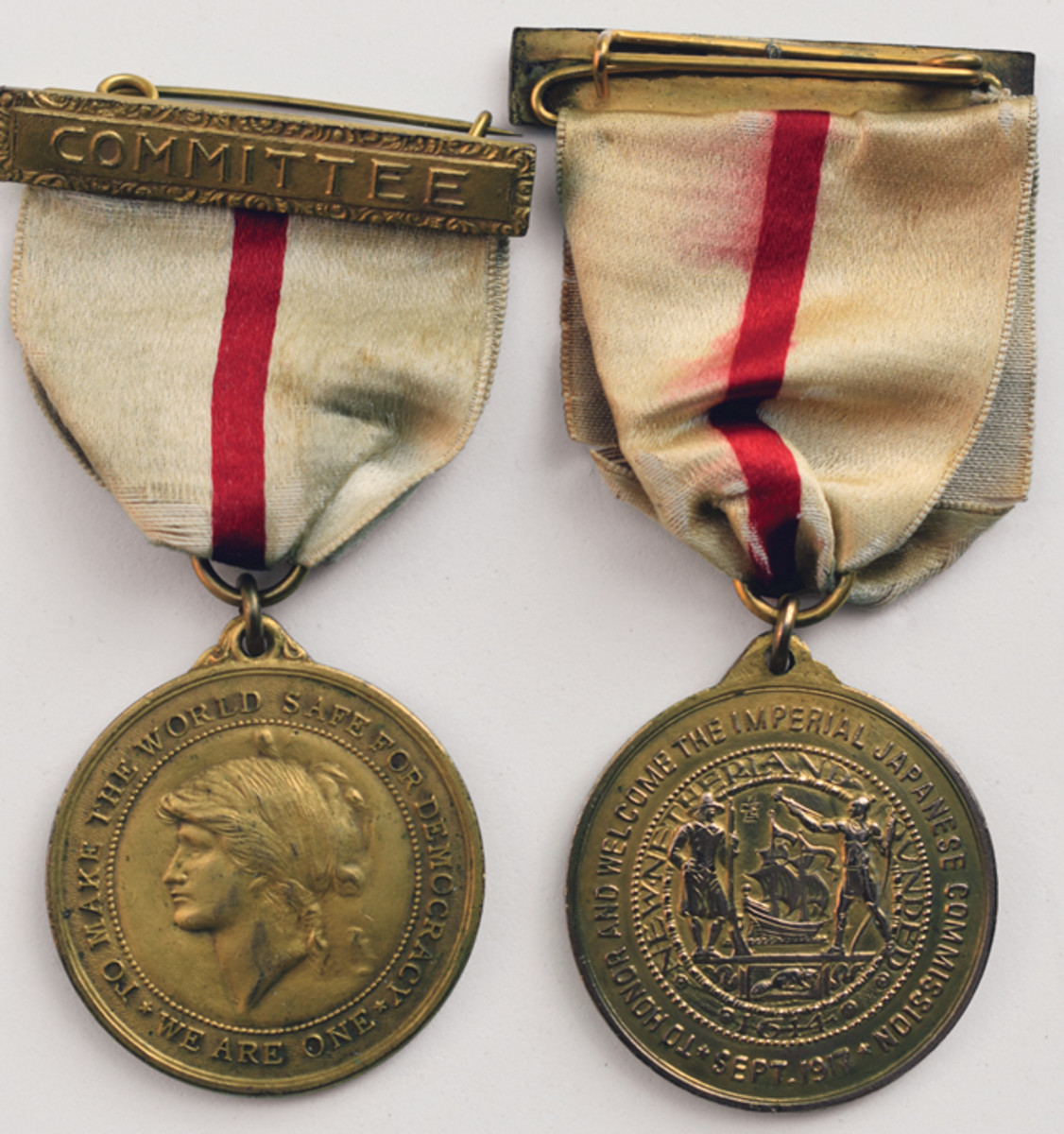 The Imperial Japanese War Commission medal is easily identified by the distinctive ribbon colors.