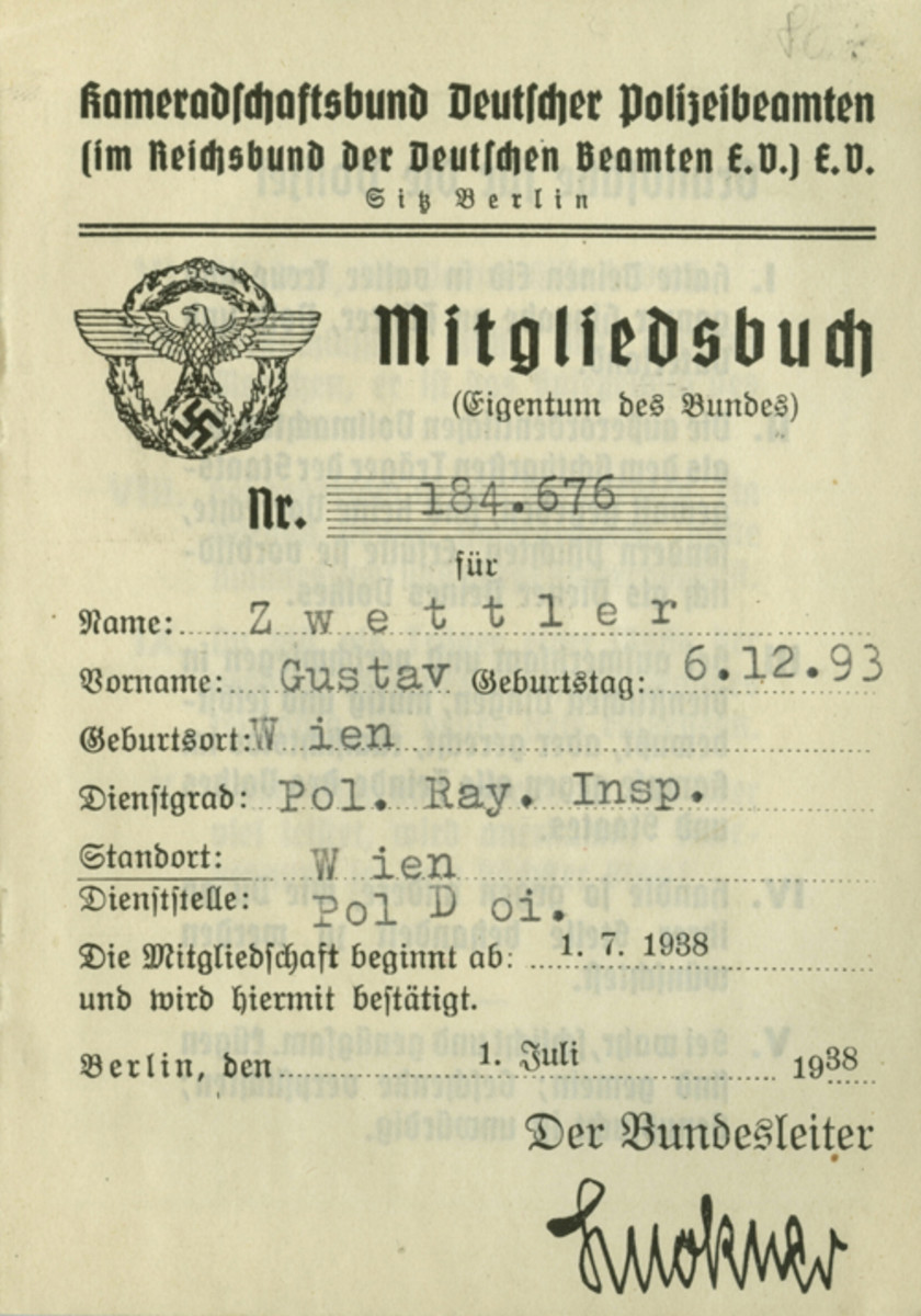 This document was issued on 1 July 1938 to 44-year old Gustav Zwettler, a Polizeirayoninspektor (junior NCO) on the Vienna police force.