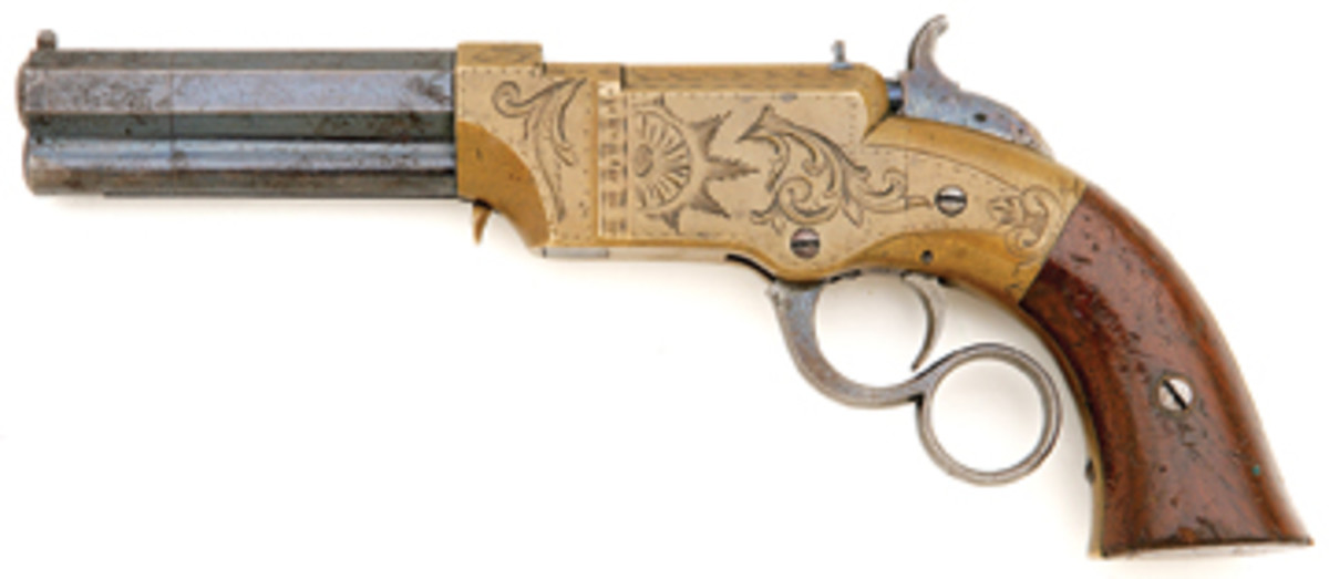Factory Engraved Volcanic No. 1 Repeating Pocket Pistol. SOLD: $14,930.