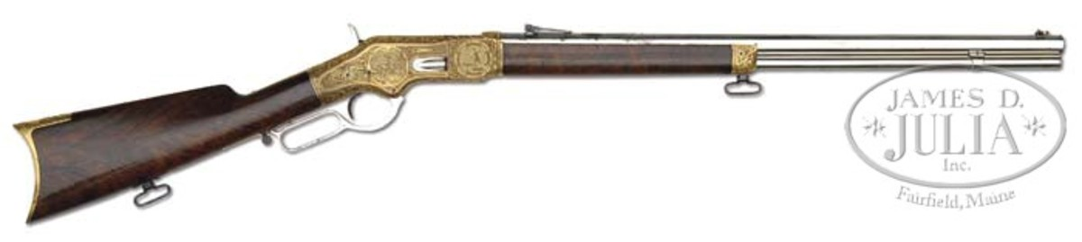 Relief Engraved, Gold & Nickel Winchester Model 1866 Lever Action Rifle (Wes Adams Estate Collection). Estimated for $200,000-300,000 it sold for $300,900.