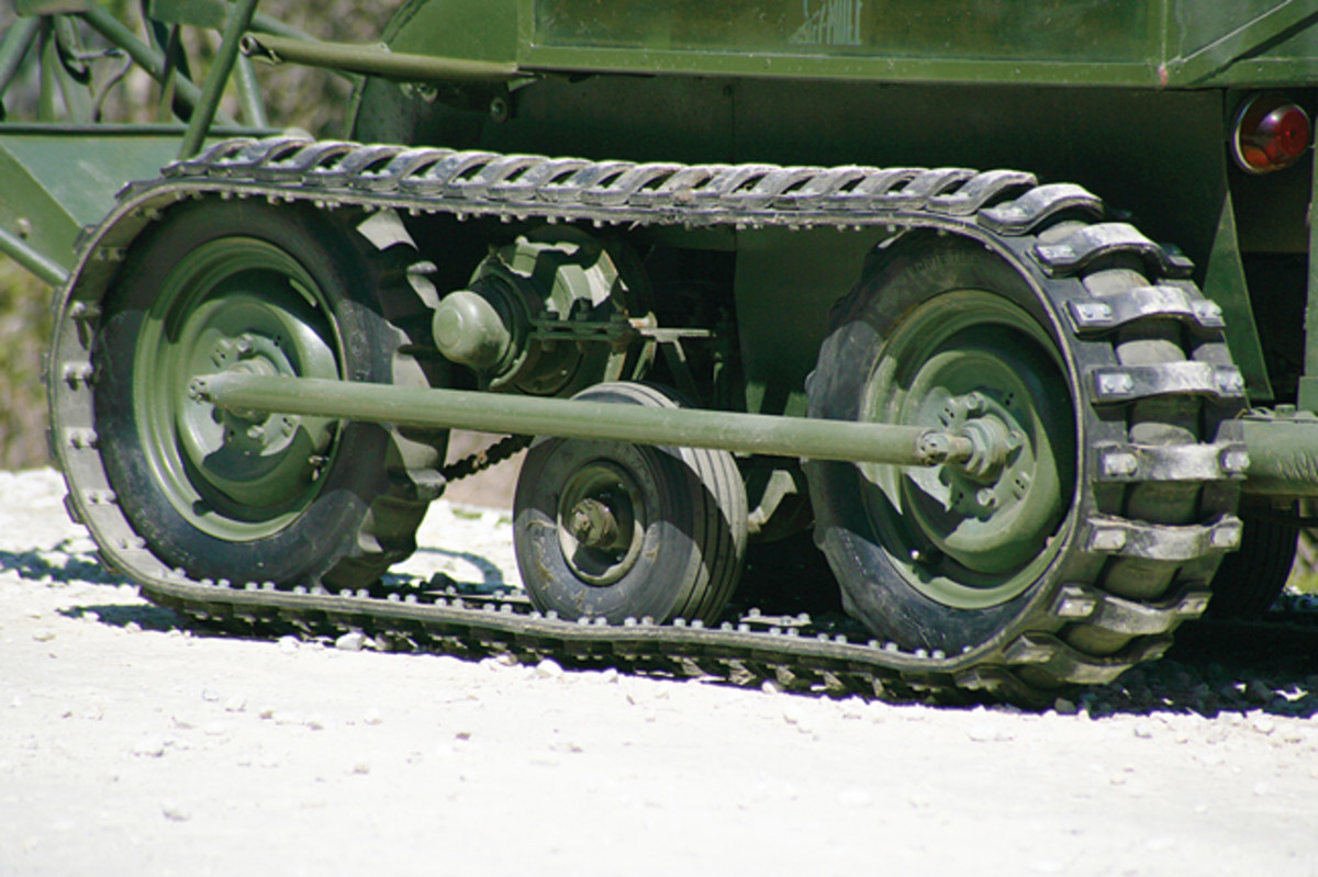 A pair of 400 x 12 inch bogie wheels drive the tracks on each side while the 400 x 4 inch idler wheels provide the traction required to steer the T-37 which weighed 1650 pounds when fully laden.