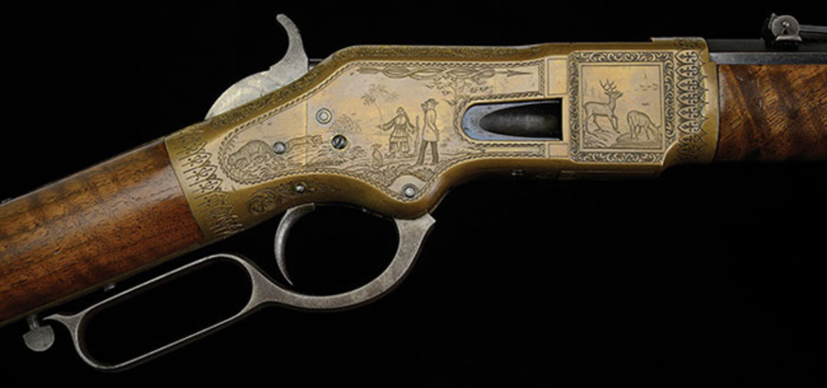 Incredible C.F. Ulrich Engraved Winchester Model 1866 with Rare and Humorous Engraved Promotional Scene