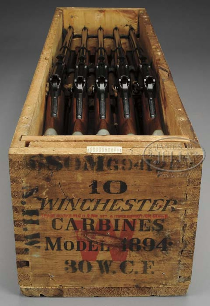 A rare original crate of 10 unissued Winchester Model 94 Saddle Ring Carbines (Wes Adams Estate Collection). Sold for $218,500.