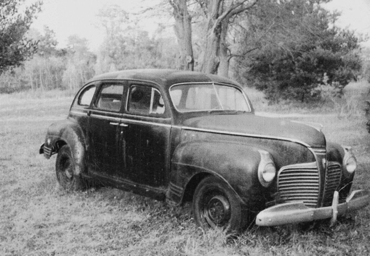 This is how the the 1941 Plymouth looked when it was discovered on a New Jersey farm.