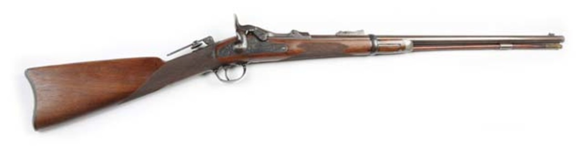 Custer-era 1875 Springfield US Officers Model trap-door rifle, a type made under special order for commissioned officers only, $13,200. Morphy Auctions image