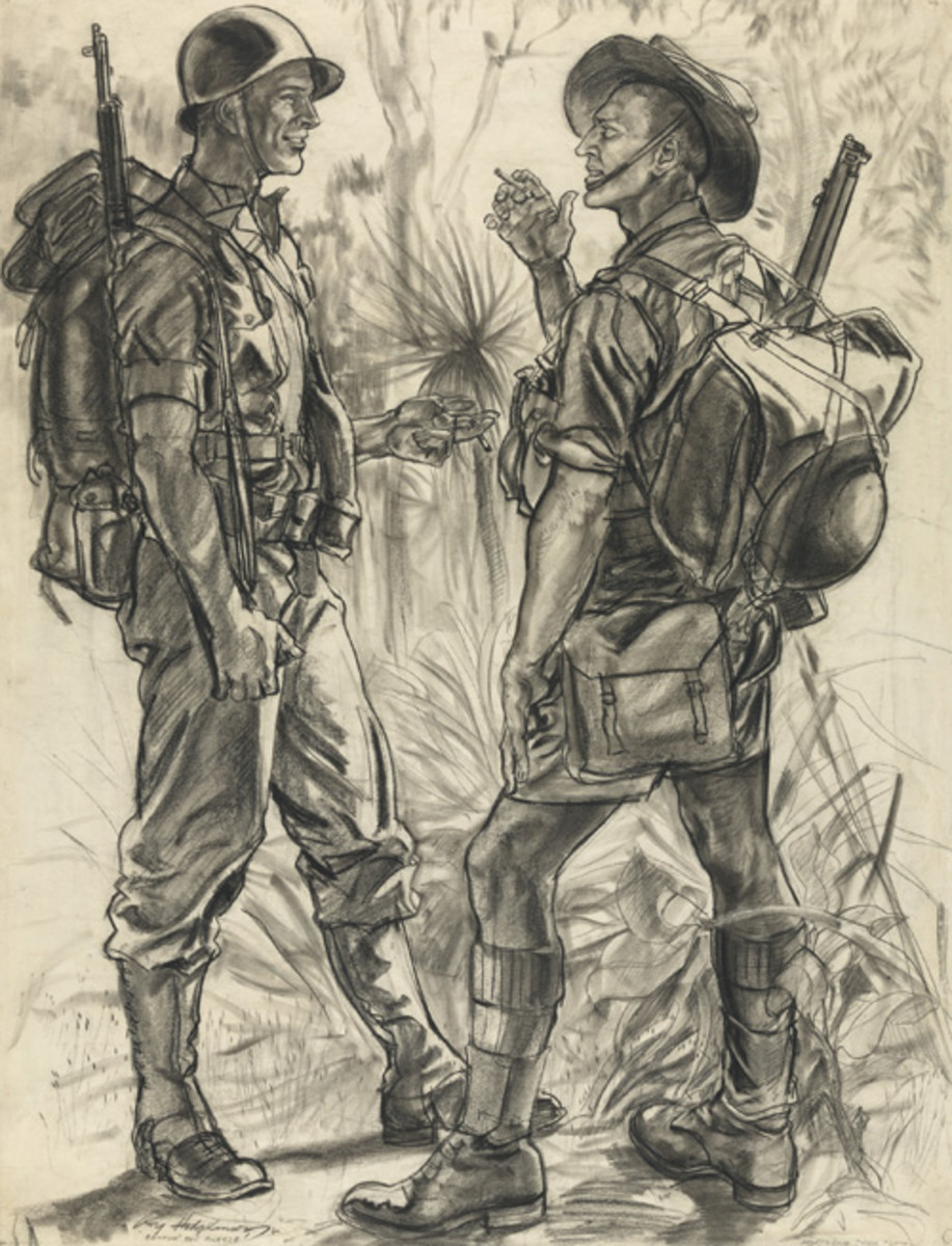 Battin' the Breeze (Sergeant Frederick Nielsen (USAAF) and Private Sam Brook (Australian)) by Roy Cecil Hodgkinson