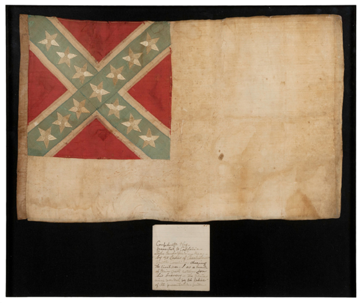 Lot #748 - Confederate War Hero, Commodore John Randolph Tucker, CSN, Personal Silk 2nd National Flag, Sword, Log Book, & Other Belongings. SOLD: $27,025.