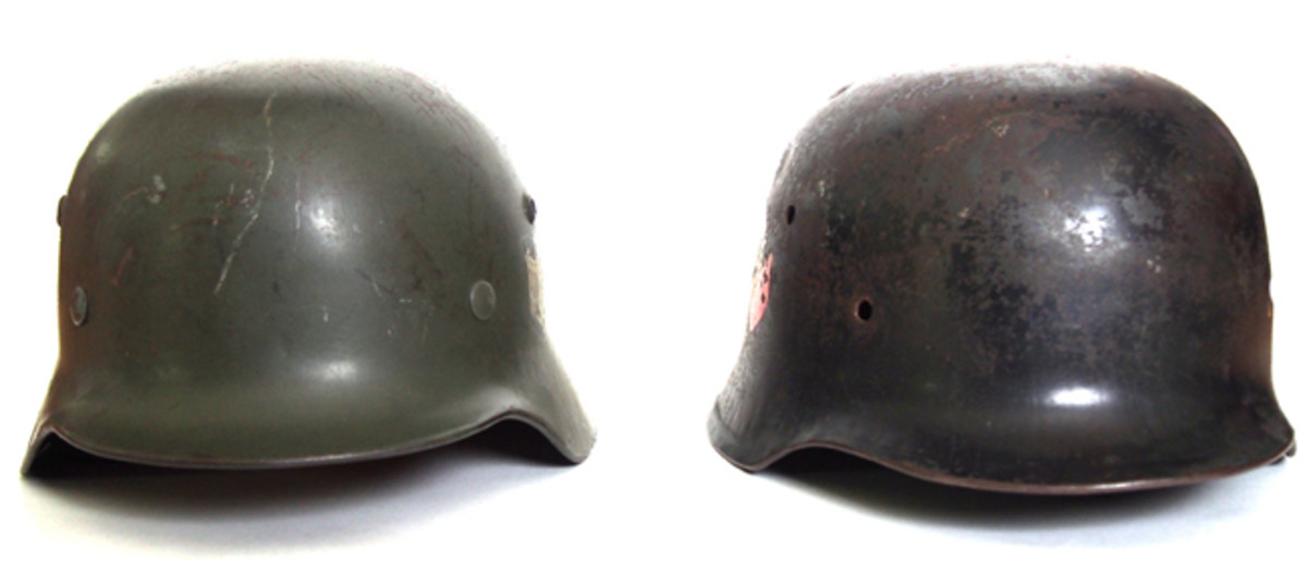 "A fron view of the German M35 and British-made ""German"" helmet (Author's Collection)"