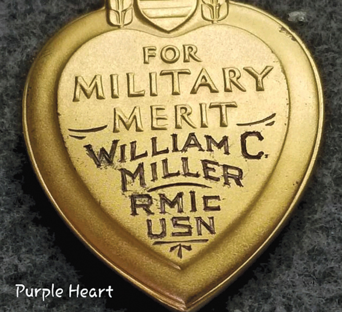Engraving on the back of William Cicero Miller's posthumous Purple Heart.