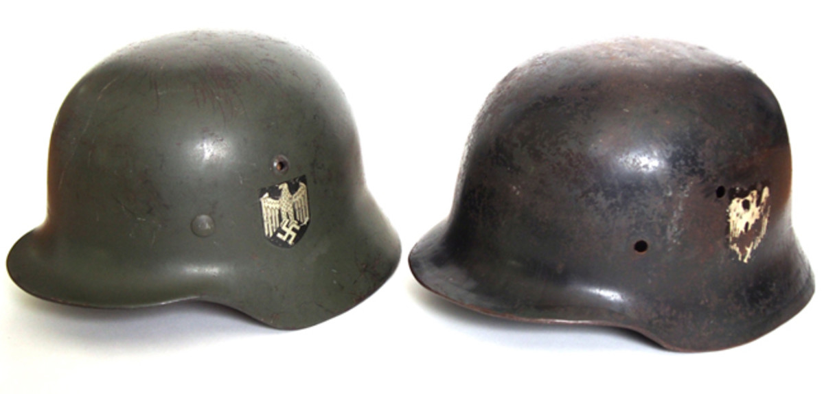 A comparison of the German M35 highlighting that the British version lacked the bushed vents and featured a similar but not exactly correct decal. (Author's Collection)