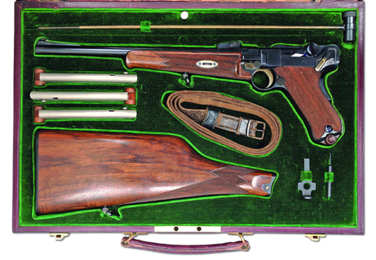 The fabulous presentation cased Model 1902 Luger carbine presented to Mexican President Porfirio Diaz comes from the Dr. Geoffrey Sturgess Collection (Zurich, Switzerland). One of the finest cased Luger Carbines you could buy in stunning new condition having at one time been presented to the President of Mexico. Estimated at $90,000-150,000.