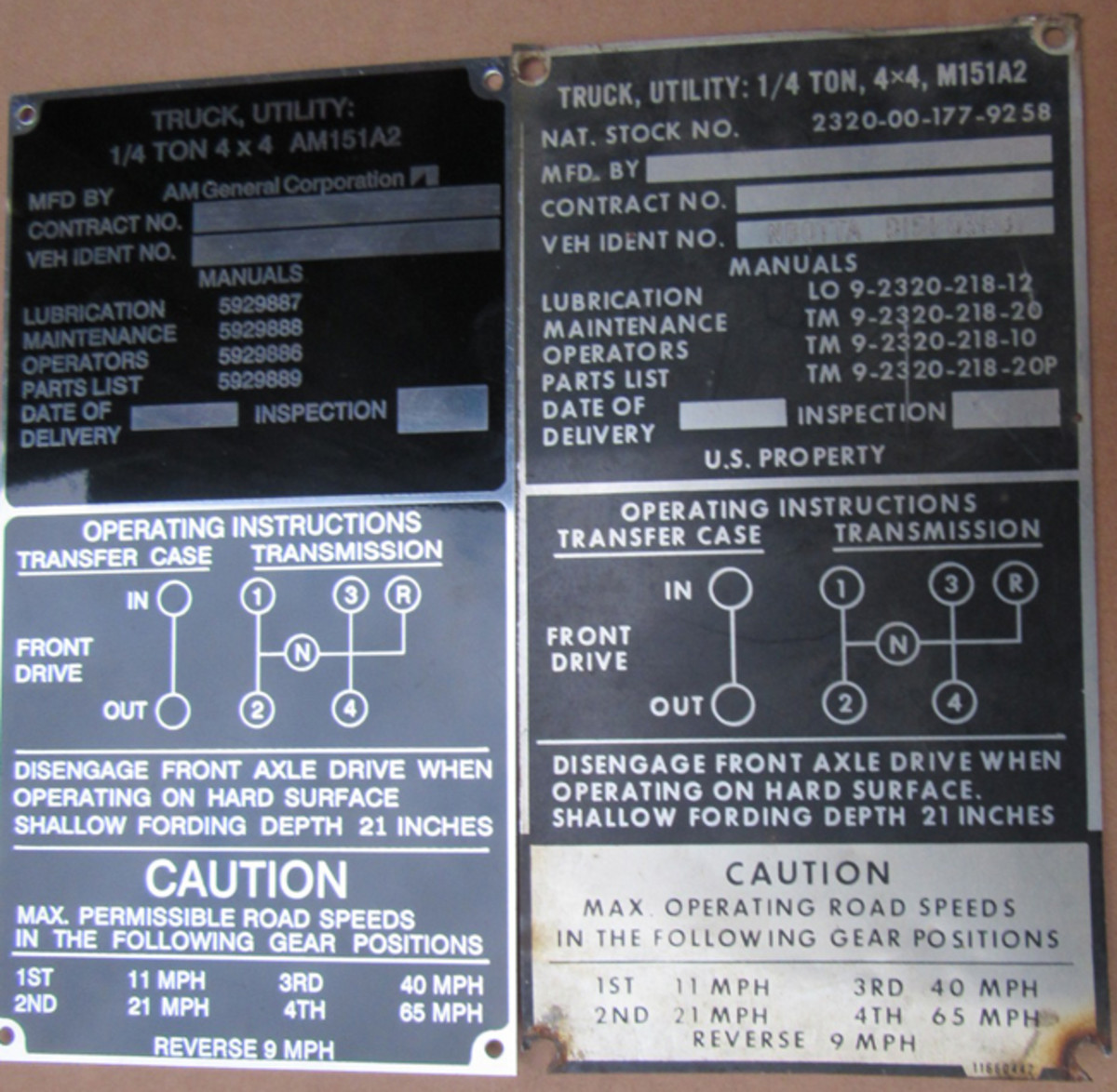 The main difference between the 2 data plates is the Australian data plate (left) does not say US property. The font on the Aussie data plate is different, as well. Only one of the two data plates that will be on the vehicle is shown.