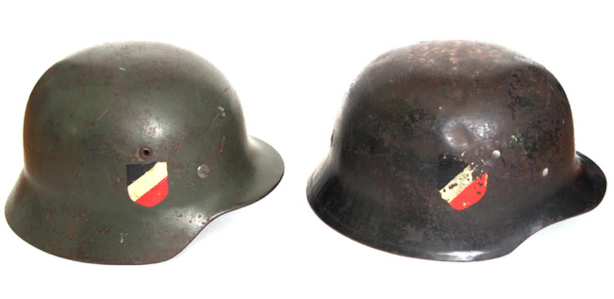 "A side-by-side comparison of the German Model 35 (left) and the British-made ""German"" helmet that was produced by Grimson & Slater Ltd. (Author's Collection)"