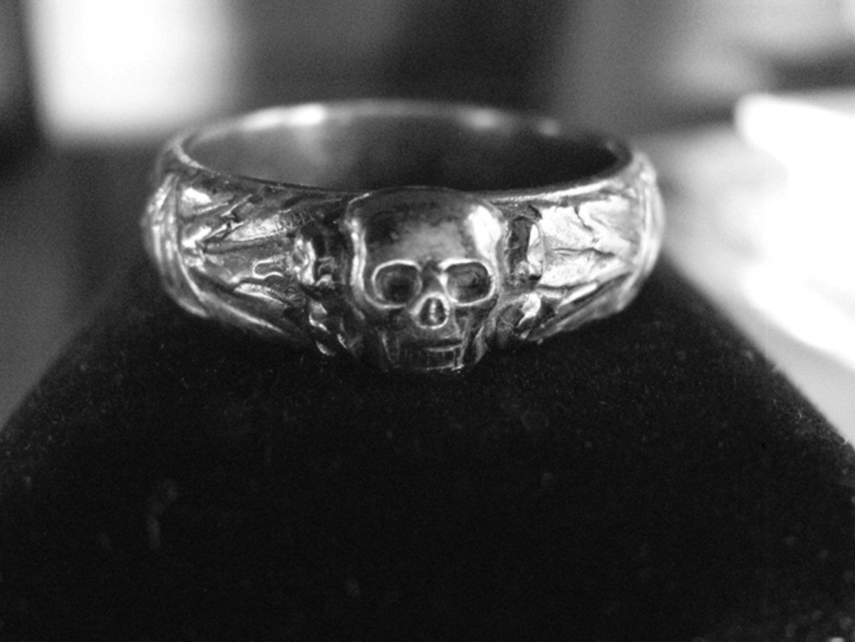 The much-coveted (during the era of the Third Reich and among collectors today) SS ring featured a skull on the front, and runes on the sides. Mark Pulaski collection