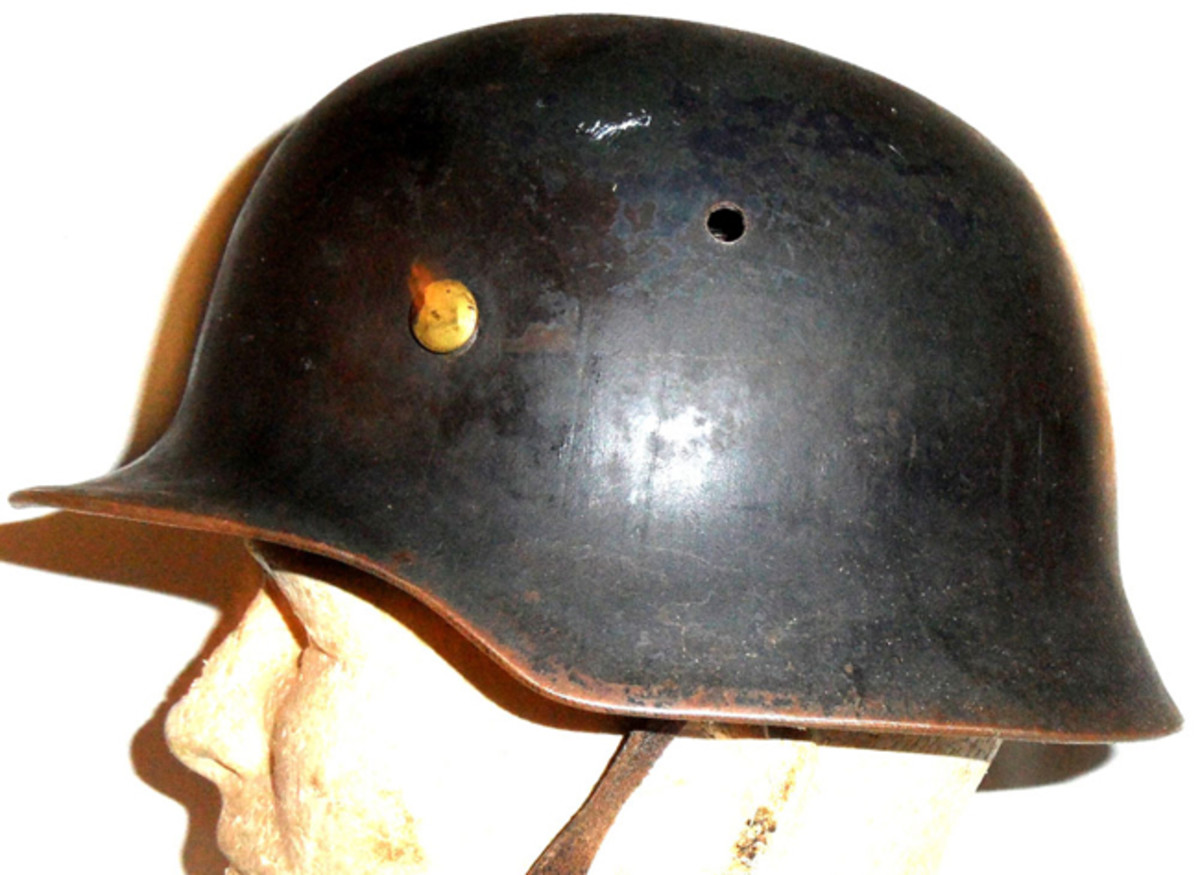 Another example of the British-made helmet – showing that the original rivets appear to be brass and the paint is almost black (Collection of Roger Lucy).