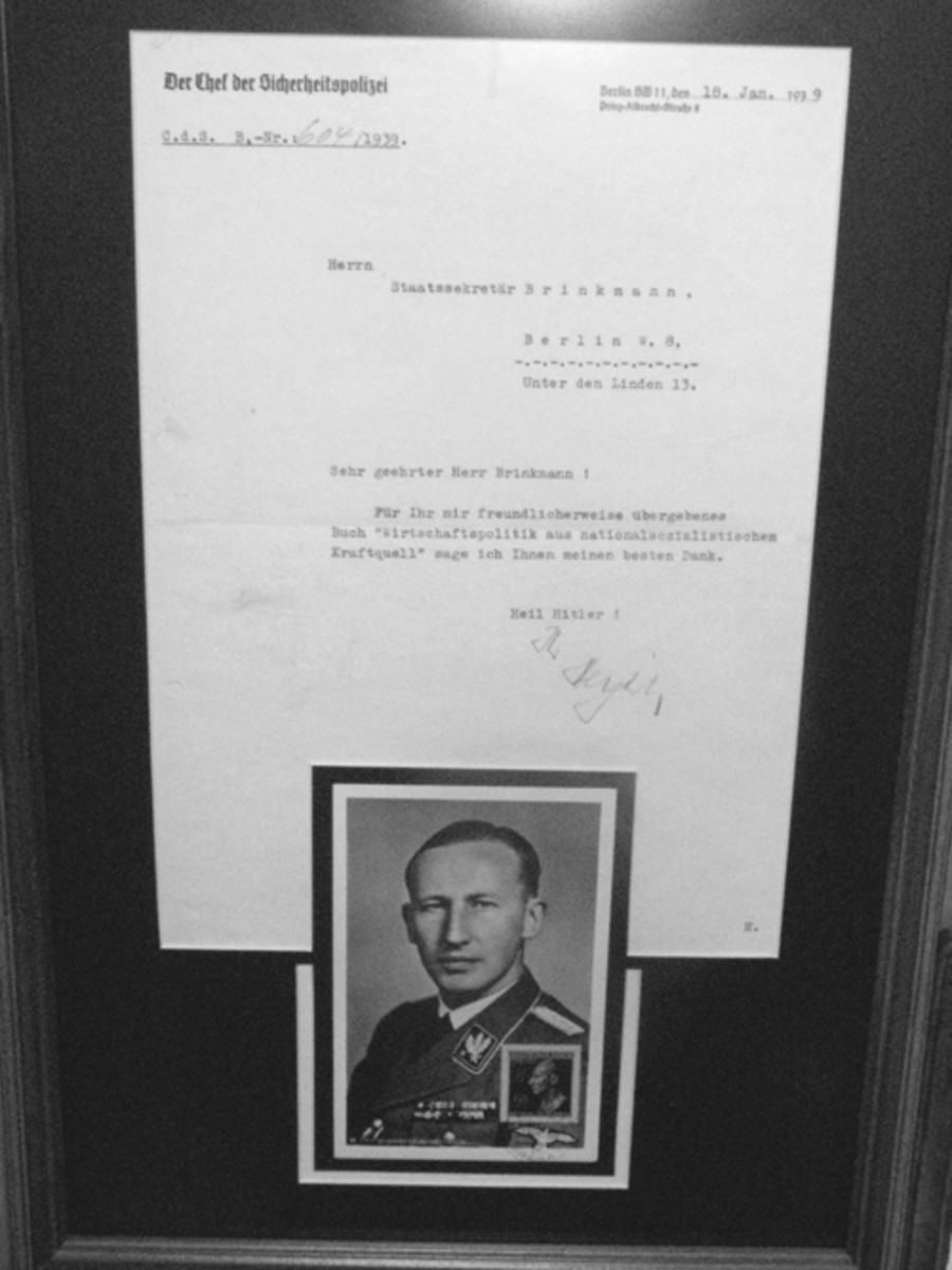 An excellent example of a signed letter from SD leader, Reinhard Heydrich. Mark Pulaski collection
