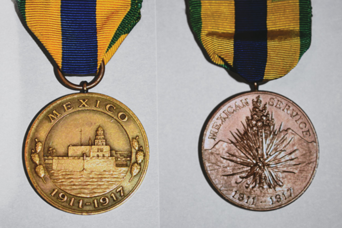 Army and Navy –Marine Mexican Service Medal obverses for service between April 11, 1911 to June 16, 1919 .