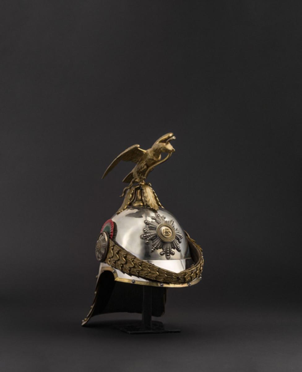 A helmet for the Place Guard under Emperor Maximilian I of Mexico 1864-67.
