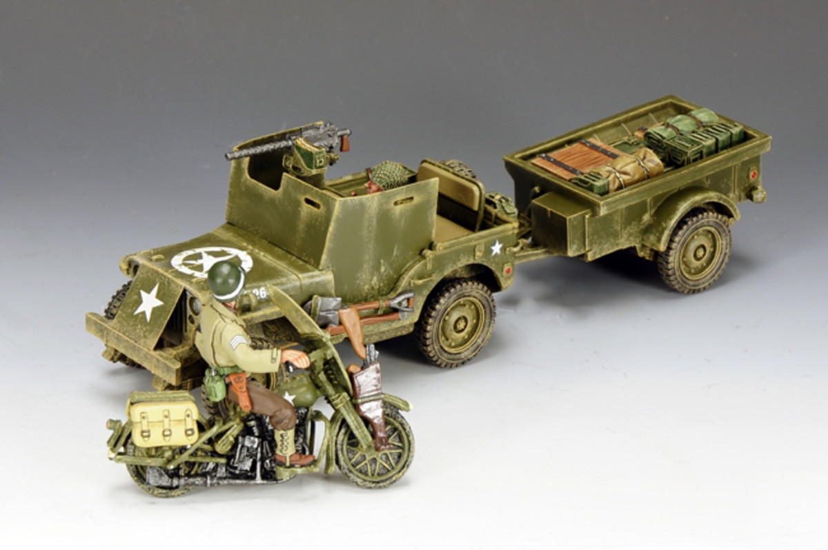 King and Country's scale model WWII Jeep and Harley-Davidson motorcycle