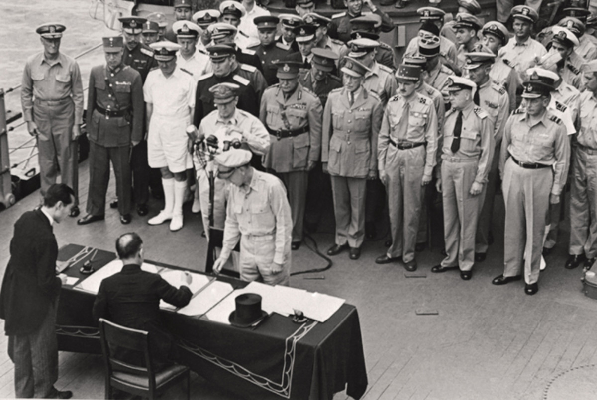 "On Aug. 14, 1945, Japan's Foreign Minister, Mamoru Shigemitsu, signed the unconditional surrender papers for Emperor Hirohito, thus committing Japan to accept the Potsdam Declaration, on Aug. 14, 1945. Later that day, the emperor called a meeting of his cabinet and instructed them to accept the Allied terms immediately, explaining ""I cannot endure the thought of letting my people suffer any longer."" Following the surrender of the Japanese government and the landing of Gen. McArthur in Japan in September 1945, the Potsdam Declaration served as legal basis for occupation by allied forces."