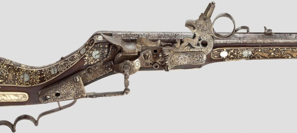 A Cieszyn wheellock rifle from 1650 decorated with lavish mother-of-pearl and bone inlays, circa 1650. HH64 Lot No 36