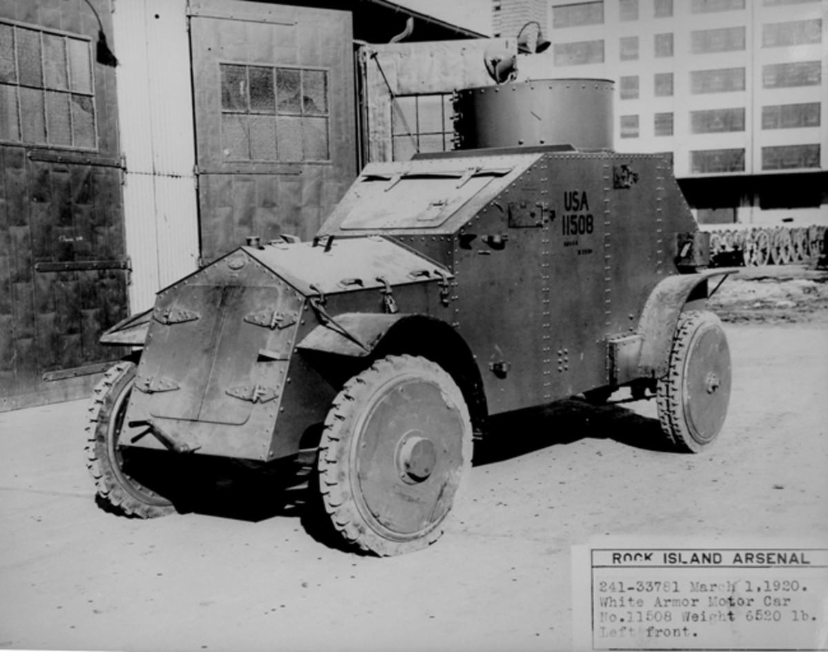 "After Armored Car No. 2 failed to meet the U.S. Army's expectations, White Motor Car Company partnered with another Cleveland company, Van Dorn Iron Works, in 1917. The goal of the new venture was to produce a lighter vehicle. Skinned with 1/4"" steel plate, the new armored car weighed about 7,000 pounds (though the caption on this 1920 photo taken at Rock Island Arsenal indicates it was only 6,520 pounds)."