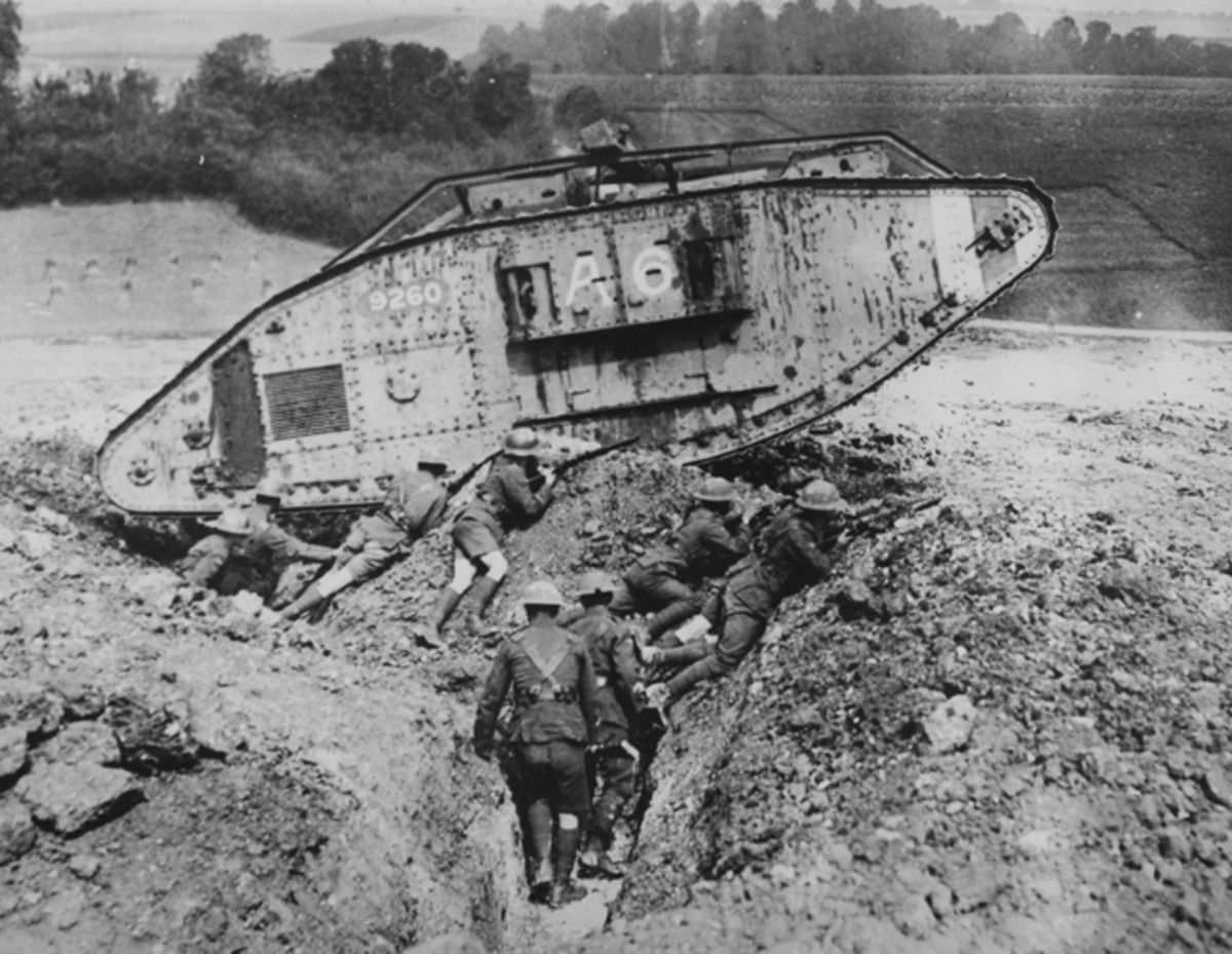 Though not a photo of Rauf's tank, this view of Mark V no. 9260 is a good representation of the type of tank – and terrain – in which Leo fought and died.