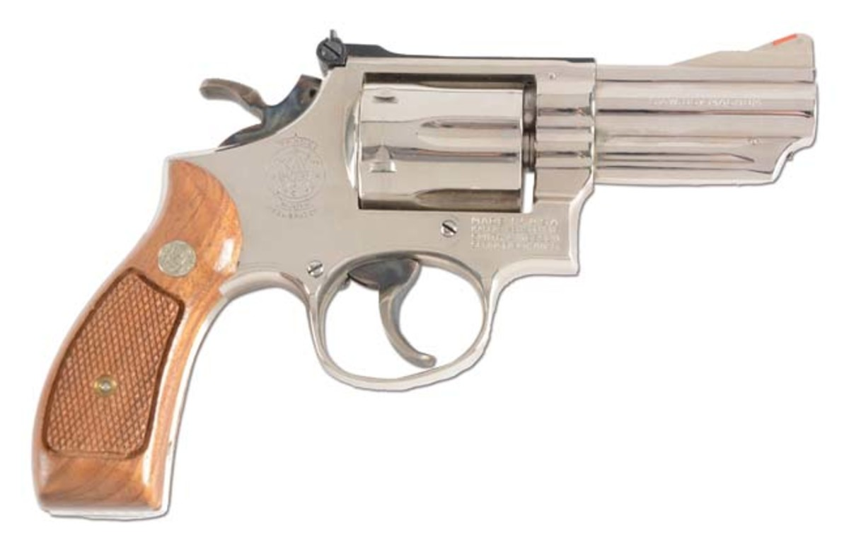 Extraordinarily rare boxed Smith & Wesson round-butt Model 19 factory nickel double-action .357 Magnum revolver 'marked' for California Justice Dept., 1973, $6,000